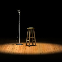 microphone & stool on stage