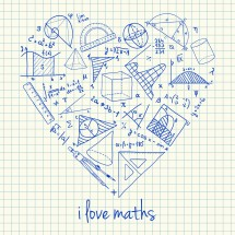 Maths drawings in heart shape