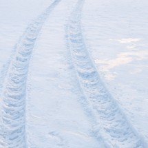 Tire trace on snow